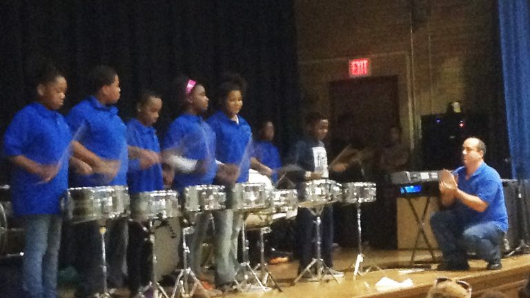The Drumline at Elbert-Palmer Elementary School in the Southbridge section of Wilmington. (Andrea Gibbs/WHYY)