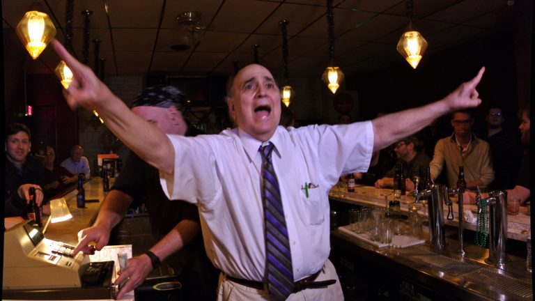Joe Philistine, 80, presides over his Wilkes-Barre bar for one last time after 53 years at Donahue's Hourglass Lounge on South Main Street. (Photo courtesy of Quinn Fusting)
