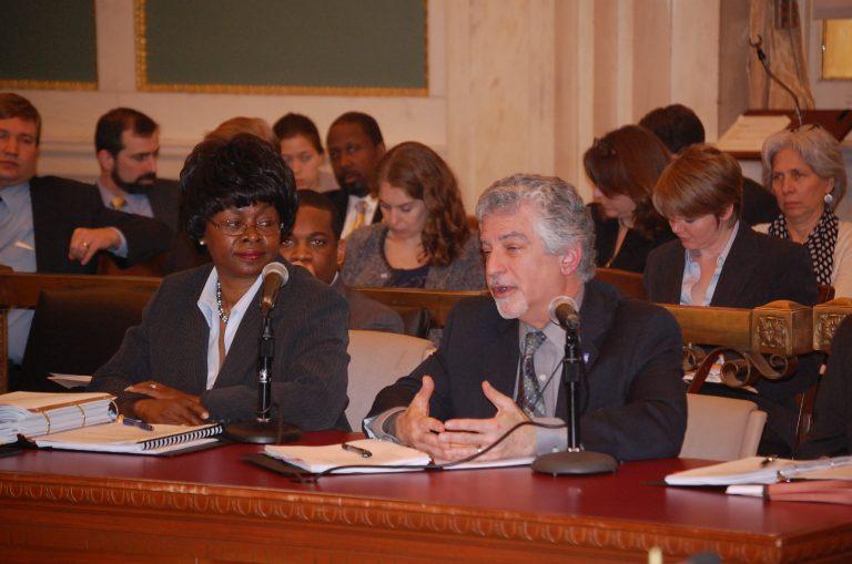 Angela Dowd-Burton and Alan Greenberger testify before council (Tom MacDonald/WHYY)