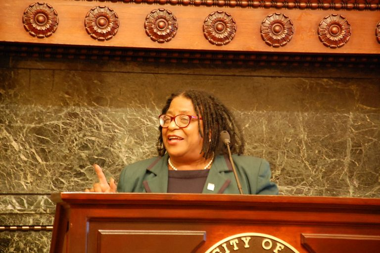 Jovida Hill is the executive director of the Mayor's Commission for Women. (Tom MacDonald/WHYY)