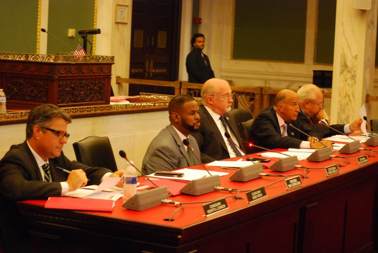 Council members listen to testimony at a Wednesday hearing on a proposal for a business improvement district in the Italian Market area.  (Tom MacDonald/WHYY)