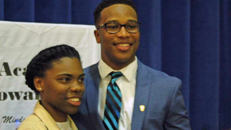 Chester Upland School District seniors and Gates Millennium Scholars Autumn Bey and Edward Nelson Jr. were among 1