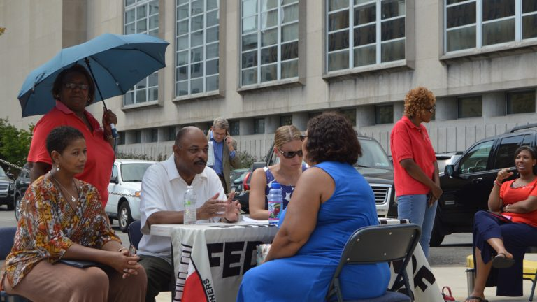 Jerry Jordan, head of the Philadelphia Federation of Teachers held office hours outdoors at Philly's School District Headquarters (Tom MacDonald/WHYY)