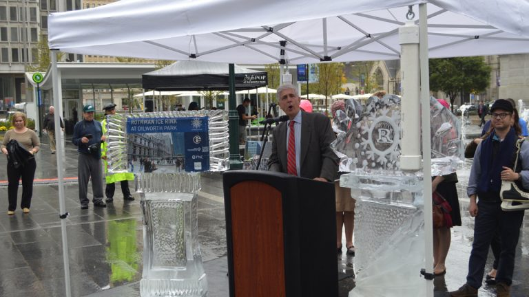 Paul Levy announces an ice rink will take the place of the fountains at Dilworth Park. (Tom MacDonald/WHYY)