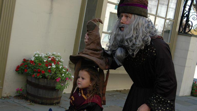 Professor Albus Dumbledore places the
