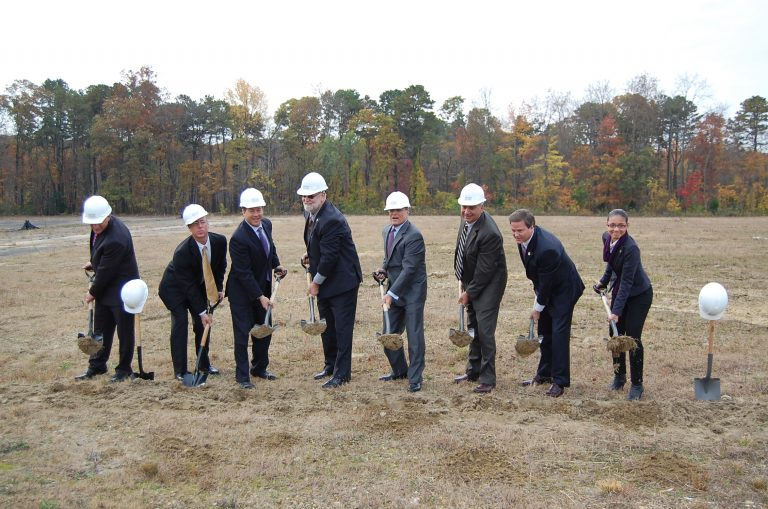 A ceremonial groundbreaking marks the start of a new housing development in Camden County, New Jersey. (Tom MacDonald/WHYY)