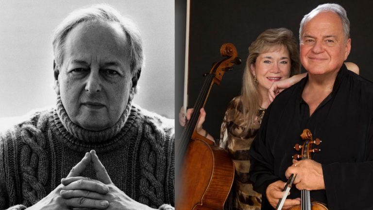 The Delaware Symphony Orchestra will open their season with the A.I. duPont composers award to Andre Previn (left) and a performance of his Double Concerto for Violin and Cello by Jaime Laredo and Sharon Robinson. (Previn photo: Lillian Birnbaum; Laredo/Robinson photo: Christian Steiner)