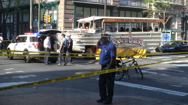 A Ride the Ducks boat full of passengers struck and killed Elizabeth Karnicki of Beaumont, Texas, as she was crossing the street in Chinatown on May 8, 2015. (Lindsay Lazarski/WHYY)