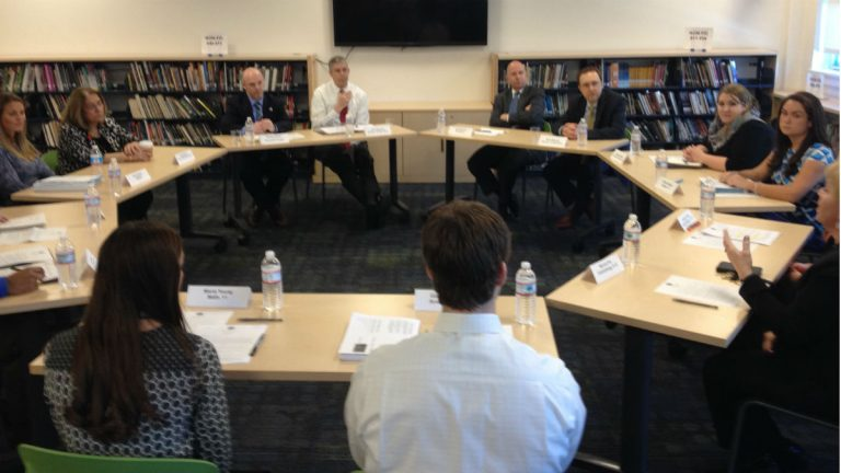 Arne Duncan and Jack Markell participate in a teacher round table at Howard High School. (Avi Wolfman-Arent, Newsworks/WHYY)