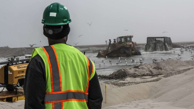 Beach replenishment begins in the borough of Ship Bottom in Ocean County on May 7