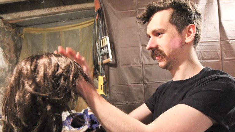 Dylan Pecora is a special effects and makeup artist who works out of his basement in Southwest Philadelphia. (Kimberly Paynter/WHYY)