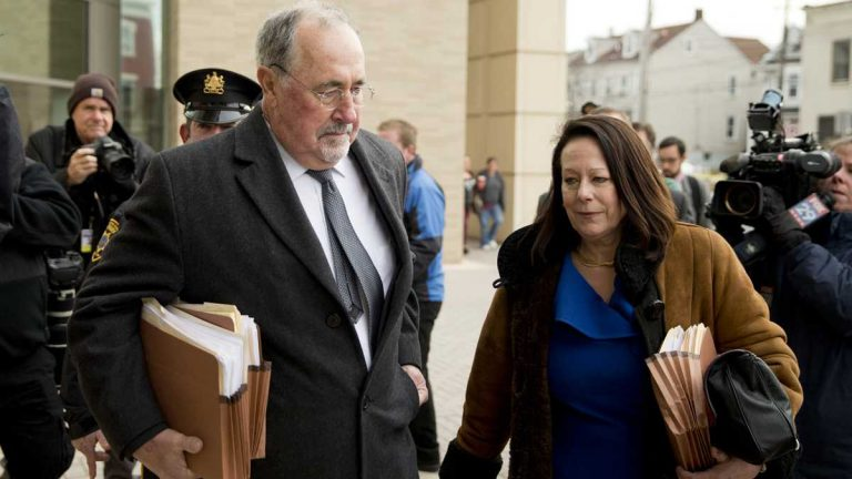 Pennsylvania Supreme Court Justice Michael Eakin at a December court hearing with his wife, Heidi Eakin (AP photo/Matt Rourke).
