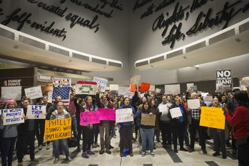 Protestors angered by President Donald Trump's executive order that prevented refugees, visa and green card holders from entering the US chant pro immigration slogans at Philadelphia International Airport. (Branden Eastwood for NewsWorks)