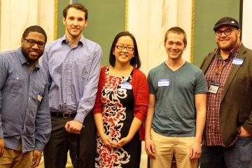 The finalists presented a range of innovative education ideas. They are (from left): Chris Rogers, Tim Dugan, Betty Hsu, Andrew Nosek and Jeff Kilpatrick. (Sara Hoover/for NewsWorks)