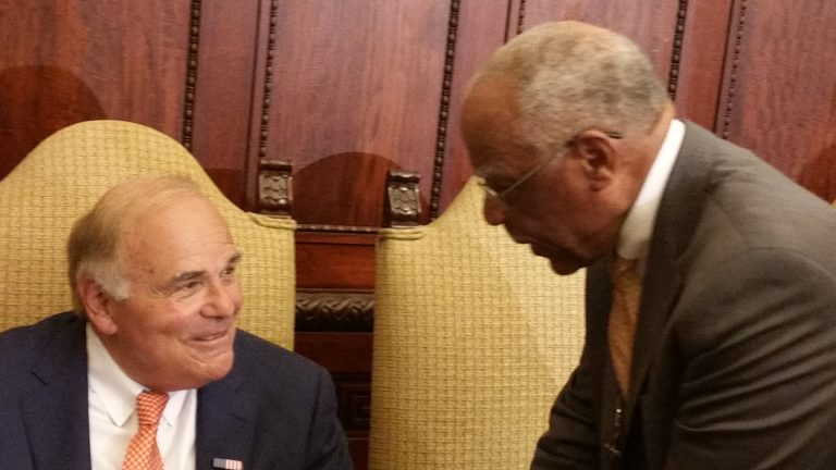 Former Mayors Ed Rendell and Wilson Goode chat at City Hall. They offered Jim Kenney, expected to become the city's next mayor, some advice. (Tom MacDonald/WHYY)