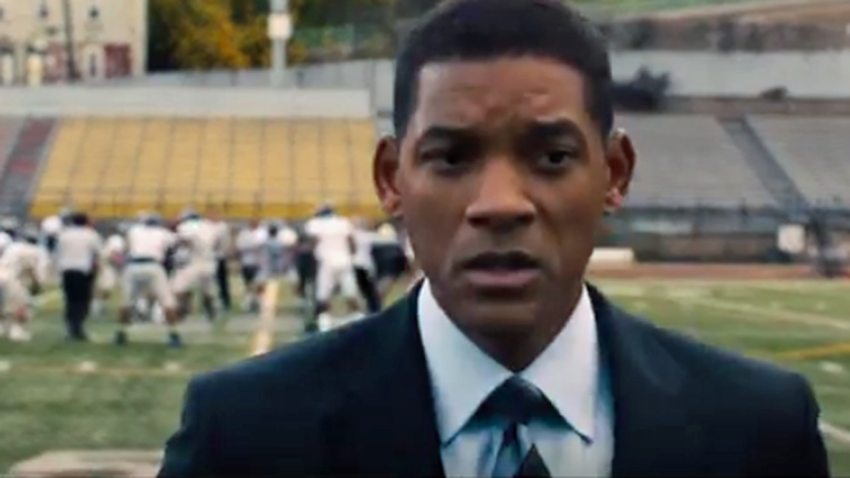 A scene from the 'Concussion' movie trailer, starring Will Smith portraying physician Bennet Omalu (Image via Youtube/Concussion)