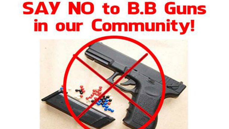 This image, taken from an online flier, calls on neighbors to demonstrate at a Point Breeze store in response to the owner selling BB guns to neighborhood children (Electronic Image via Facebook)