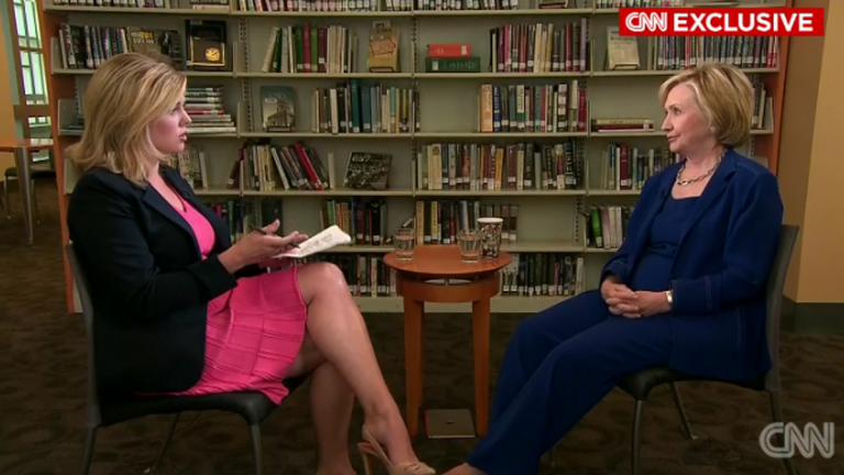 CNN's Brianna Keilar interviews Hillary Clinton in her first national interview of the 2016 race in Iowa City, Iowa, according to CNN. (Electronic image via cnn.com)