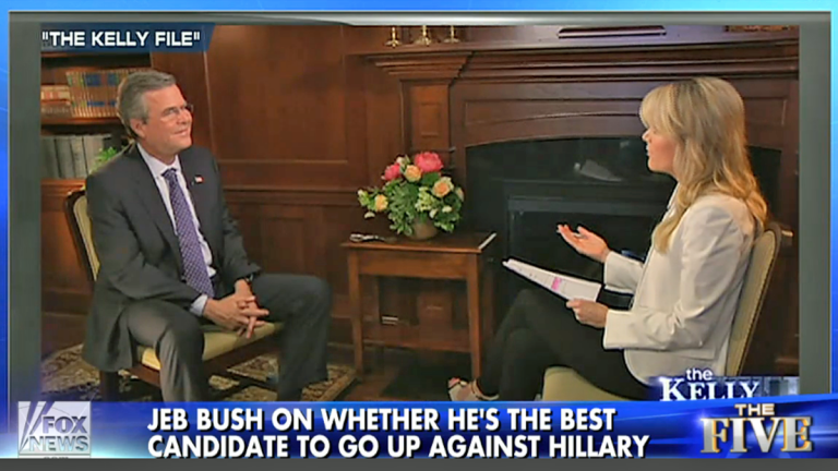 Jeb Bush sits with Megyn Kelly during an interview aired Monday night on Fox (Image via video.foxnews.com)