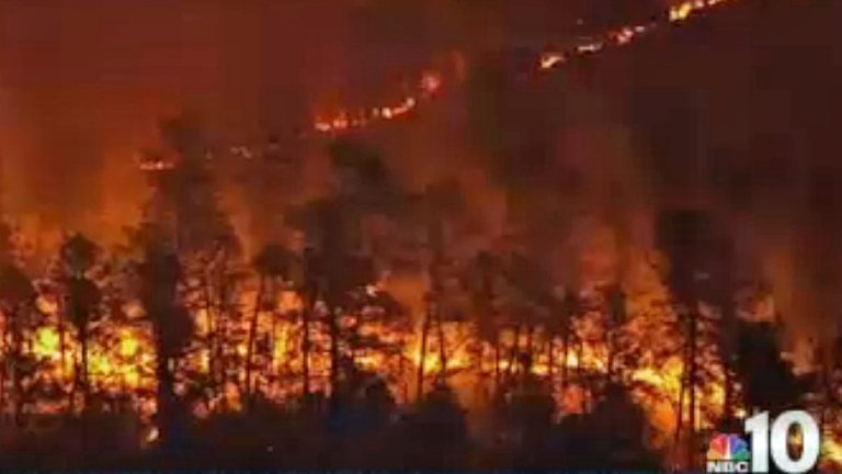 A wildfire burned in Burlington County, New Jersey. (Image via NBC10)