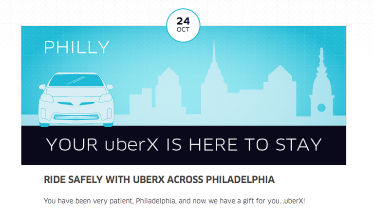 UberX rolled out promotions in Philadelphia earlier this year. (Electronic image via Uber.com)