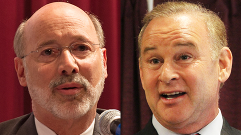 York County businessman Tom Wolf (left) and Pa. state Treasurer Rob McCord