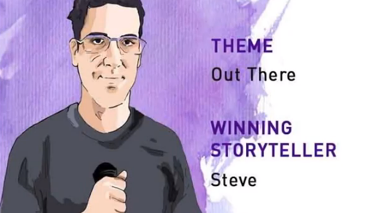 Illustration of Steve Clark named best storyteller in Philadelphia after his First Person Arts Grand Slam performance (Screen grab via First Person Arts Grand Slam winning storyteller youtube video)
