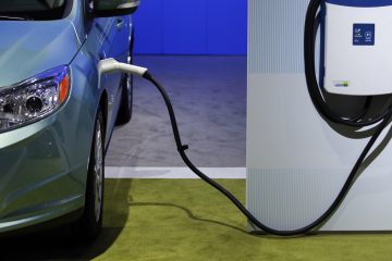 A charging station is displayed at the LA Auto Show in Los Angeles. (Jae C. Hong/Associated Press)