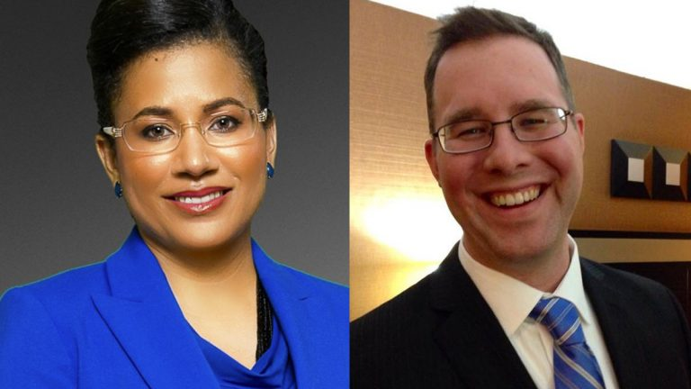 Democratic committeewoman Donna Bullock (left) and Republican ward leader Adam Lang are in a race to represent the 195th District. (Image via donnabullock195.com and Adam Lang's Facebook Page)