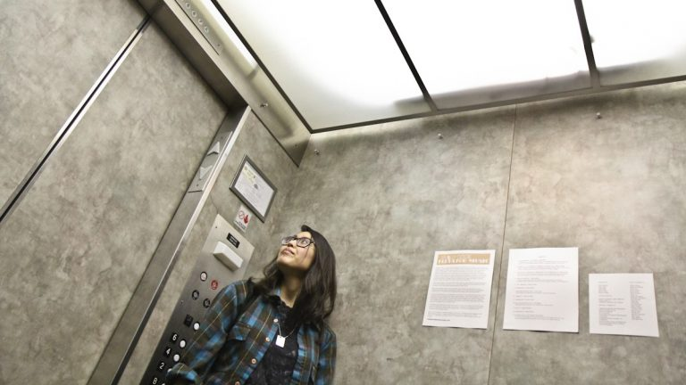 Audio producer Yowei Shaw's project 'Really Good Elevator Music' is an installation of tracks from local musicians that plays in the elevators at Chinatown's Wolf Building. (Kimberly Paynter/WHYY)