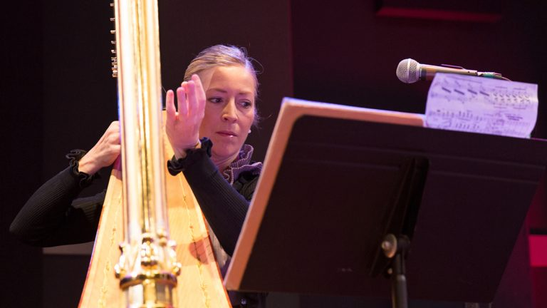 Elizabeth Hainen, principal harp player for the Philadelphia Orchestra, plays a matinee Live Connections show at World Cafe Live.  (Lindsay Lazarski/WHYY)