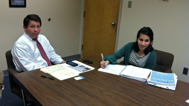 Gloucester Township Mayor David Mayer works with Wellness Coordinator Janan Dave on a campaign to encourage families in the community to have end-of-life discussions. Mayer, who lost his mother last year, brings his personal experiences to the table. (Elana Gordon/WHYY)