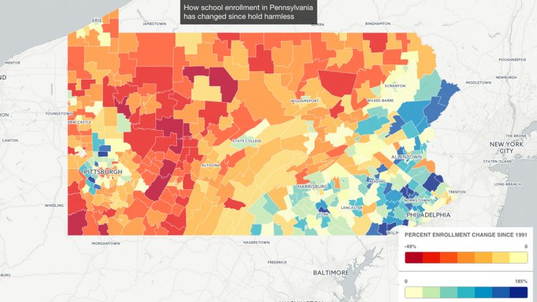 How school enrollment in Pennsylvania has changed since hold harmless policy.  (Map by Rachel Feierman)