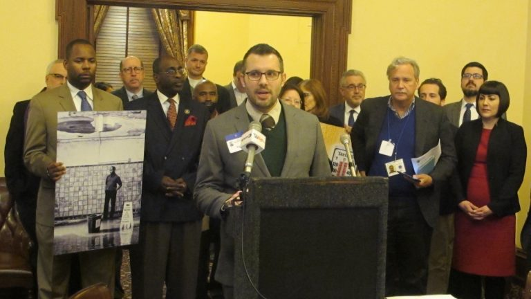 Coalition members urge New Jersey leaders to take action to mitigate effects of climate change. (photo by Phil Gregory)