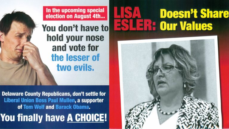 Political mail pieces attacking GOP candidate Paul Mullen (left) by the 'Citizens Alliance of Pennsylvania PAC,' and against Lisa Esler (right) from the state Republican party)