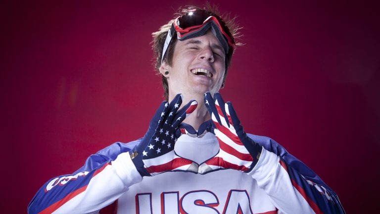 United States Olympic Winter Games para olympic snowboarding participant Evan Strong poses for a portrait at the 2013 Team USA Media Summit on Monday, Oct. 1, 2013 in Park City, UT. (AP Photo/Carlo Allegri)