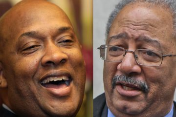 State Rep. Dwight Evans, D-Philadelphia, (left) is challenging U.S. Rep. Chaka Fattah in the April Democratic primary. (Carolyn Kaster/AP Photo and Kimberly Paynter/WHYY)