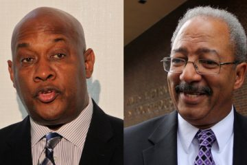 State Rep. Dwight Evans (left) has raised more money than any of the four candidates who hope to replace indicted incumbent Chaka Fattah (right) on the Democratic ticket in the race for the Second Congressional District. (NewsWorks file photos)