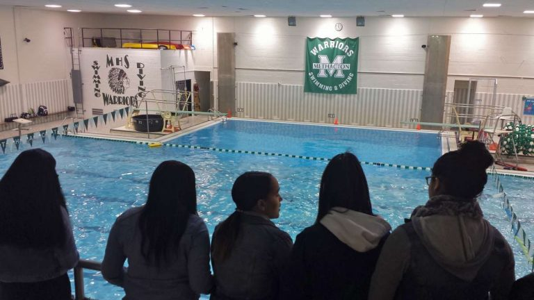 High school exchange: Kensington Health Sciences high school students tour the athletic facilities at Methacton High School.