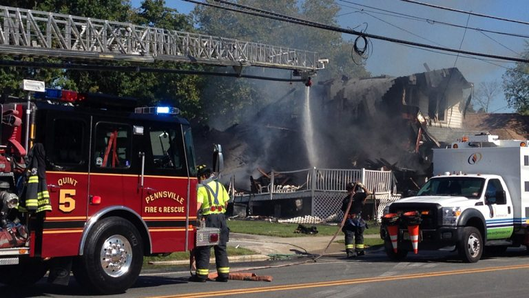 An explosion rocked a Pennsville, New Jersey home Tuesday morning (John Jankowski/for NewsWorks)
