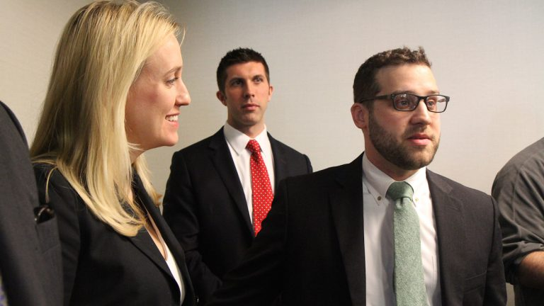 Kristina Rasmussen, vice president of Americans for Fair Treatment, and Nathan Bohlander and David Osborne, legal counsel for the Fairness Center, are suing the Philadelphia Federation of Teachers over a contract provision. (Kimberly Paynter/WHYY)