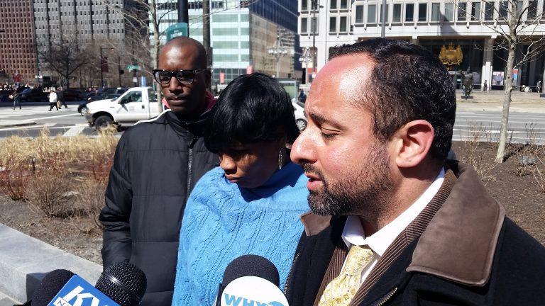 Family members of Brandon Tate-Brown speak outside Philadelphia City Hall (Tom MacDOnald/WHYY)