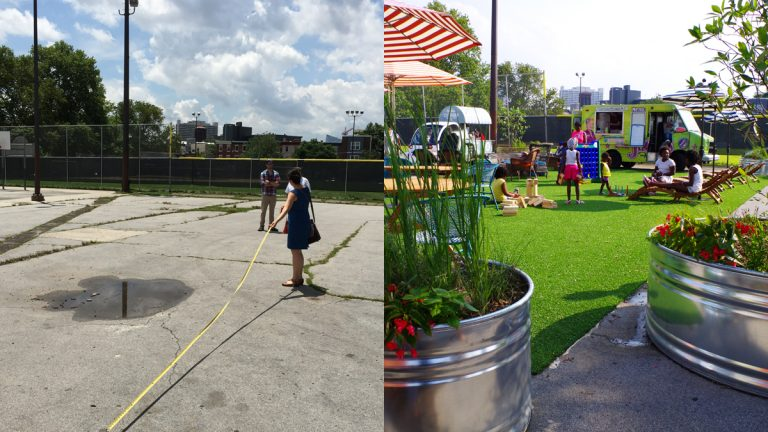 "Before (left) and after images of the pool ""pop-up"" installation at the Francisville public pool in Philadelphia.  (Images courtesy of Group Melvin Design and Sikora Wells Appel)"