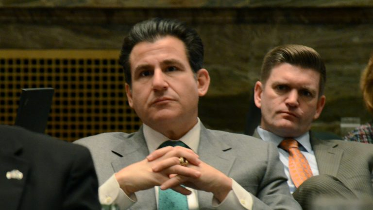Pennsylvania state Sen. Larry Farnese is shown at left at the capitol in Harrisburg in February 2016. (AP Photo/Marc Levy