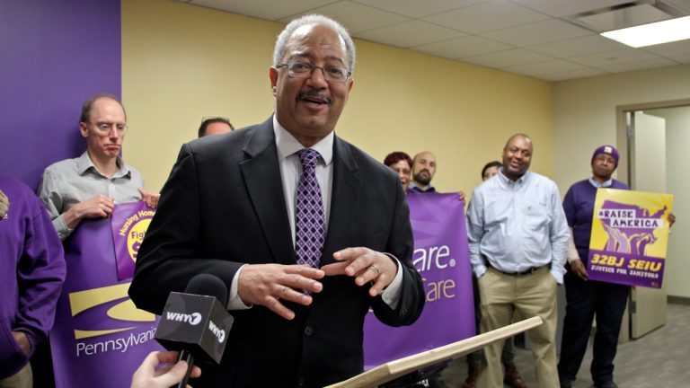 U.S. Rep. Chaka Fattah receives the endorsement of the Service Employees International Union, which represents health care workers, school employees, social service workers, security officers and property service employees. (Emma Lee/WHYY)