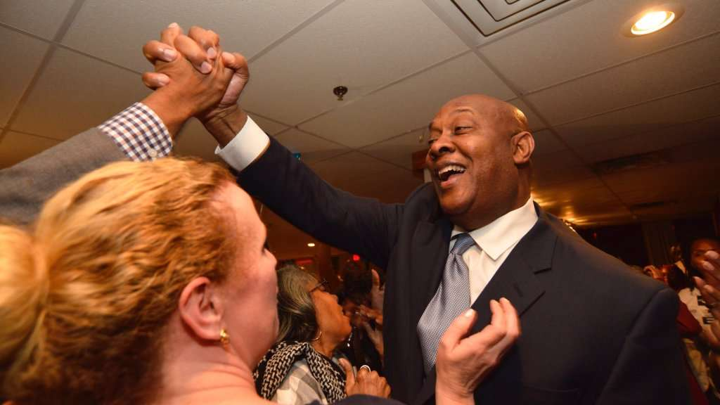 Dwight Evans is shown after winning the Pennsylvania Democratic primary in April. (Bastiaan Slabbers/for NewsWorks)
