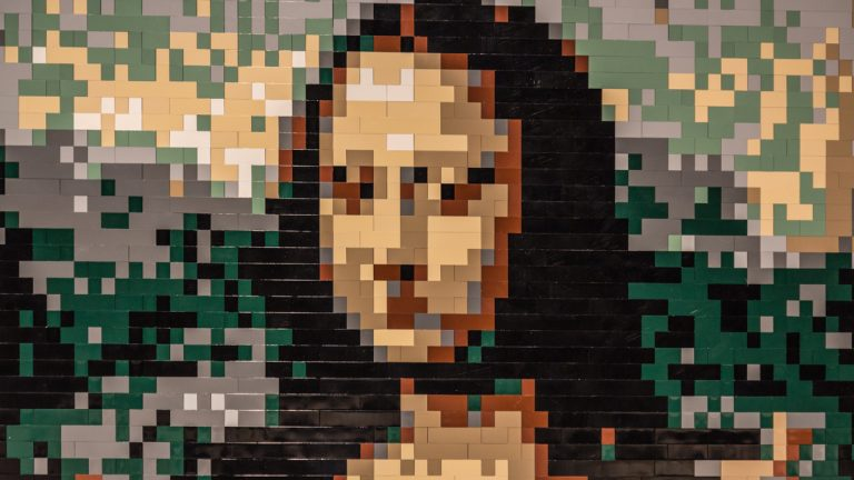 The world's largest display of LEGO art comes to the Franklin Institute. 'The Art of the Brick' features more than 100 pieces by renowned New York based contemporary artist Nathan Sawaya. Pictured: Leonardo da Vinci's Mona Lisa (Brick Count: 4573). (Photo courtesy of the Franklin Institute)