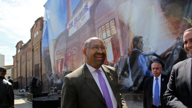 Mayor Michael Nutter announces plans for the Fillmore Philadelphia, a live music venue that will ocupy the former Ajax Metal Factory in Fishtown. (Emma Lee/WHYY)