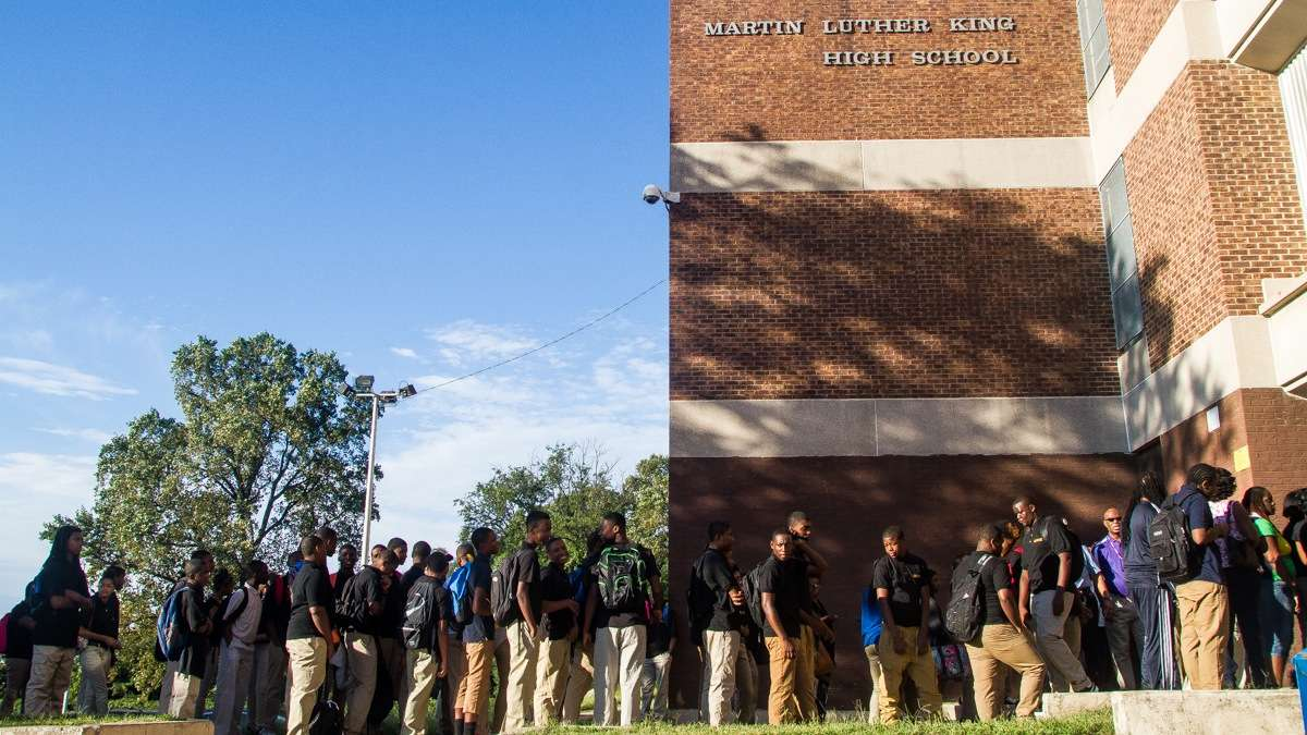 Students lining up on the first day of school at Martin Luther King High School in West Oak Lane. (Brad Larrison/for NewsWorks,file)