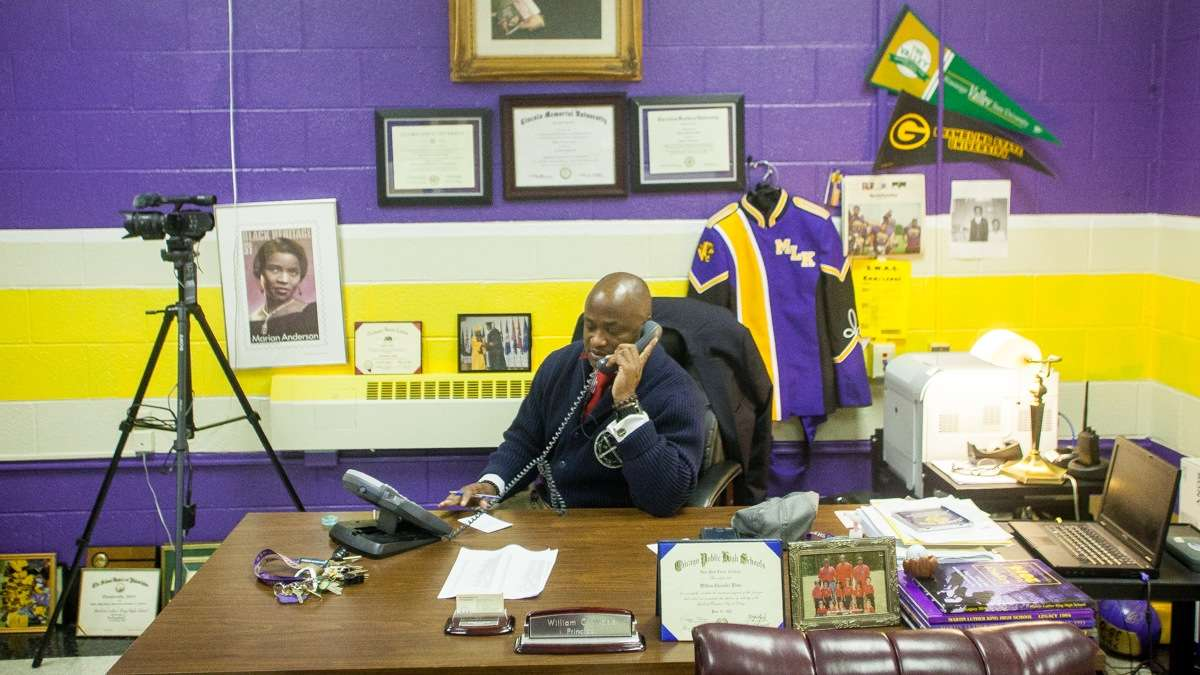 Former MLK principal William Wade on the first day of school last year. (Brad Larrison/for NewsWorks, file)